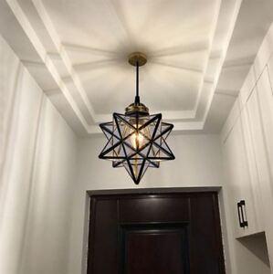 Image Is Loading LED Glass Star Pendant Lamp Lighting Chandelier Bedroom
