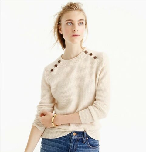 Buttons Sweater Crew Italiensk 3 Ivory 4 J Sleeve Collection Wafflie L Cashmere XPEqd