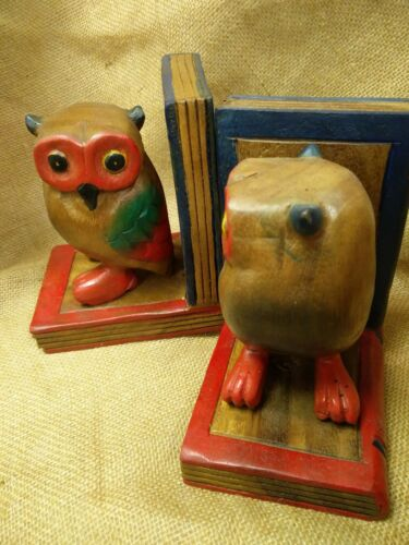 Hand Carved and Painted in Acacia Fair Trade Owl Bookends Wooden
