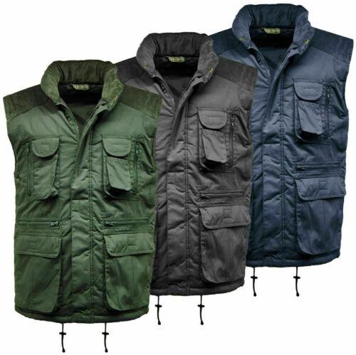 Details about  /Mens Designer Padded Multi Pocket Gilet Full Zip Work Body-warmer Cord Jacket