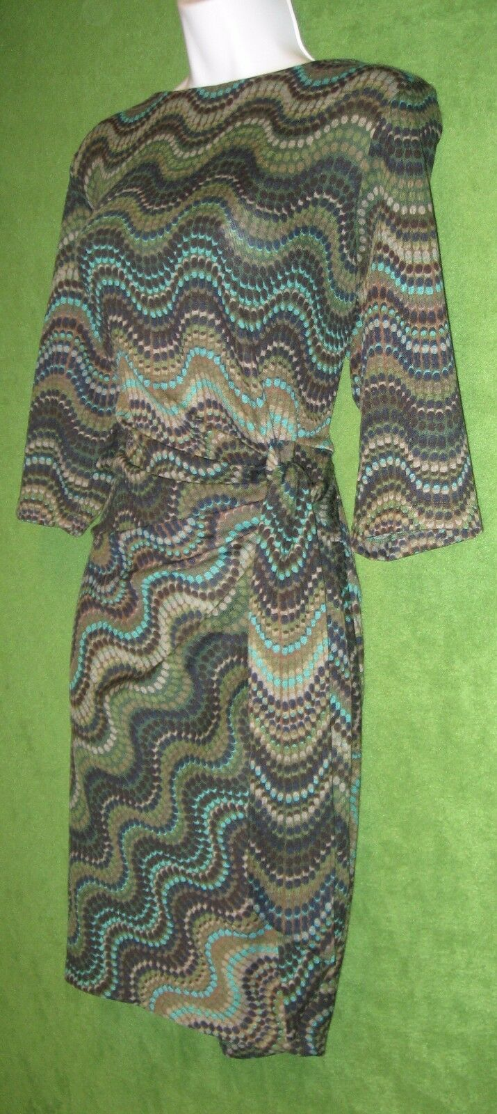 Shelby & Palmer Brown Teal Teal Teal Stretch Knit Ruched Tie Social Dress XL 16  79 MISC efef20