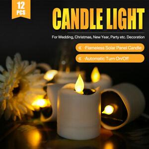 12x-LED-luce-del-te-Candele-sfarfallio-energia-solare-senza-fiamma-Lumini-Wedding-Decor