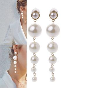 Image Is Loading Elegant Long Pearls Drop Earrings For Women