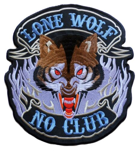 Patch grand écusson patche dorsal dos grande taille Lone Wolf No Club brodé
