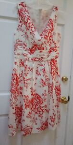 Red-amp-Ivory-Floral-Cotton-Dress-Sz-12-NWOT