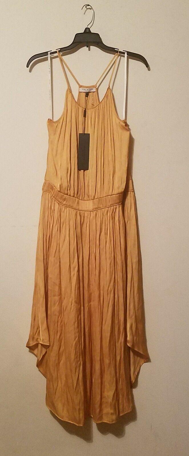 NWT Halston Heritage Women's Sleeveless Shirred Satin Satin Satin Midi Dress Yellow  Sz M 5d0a04