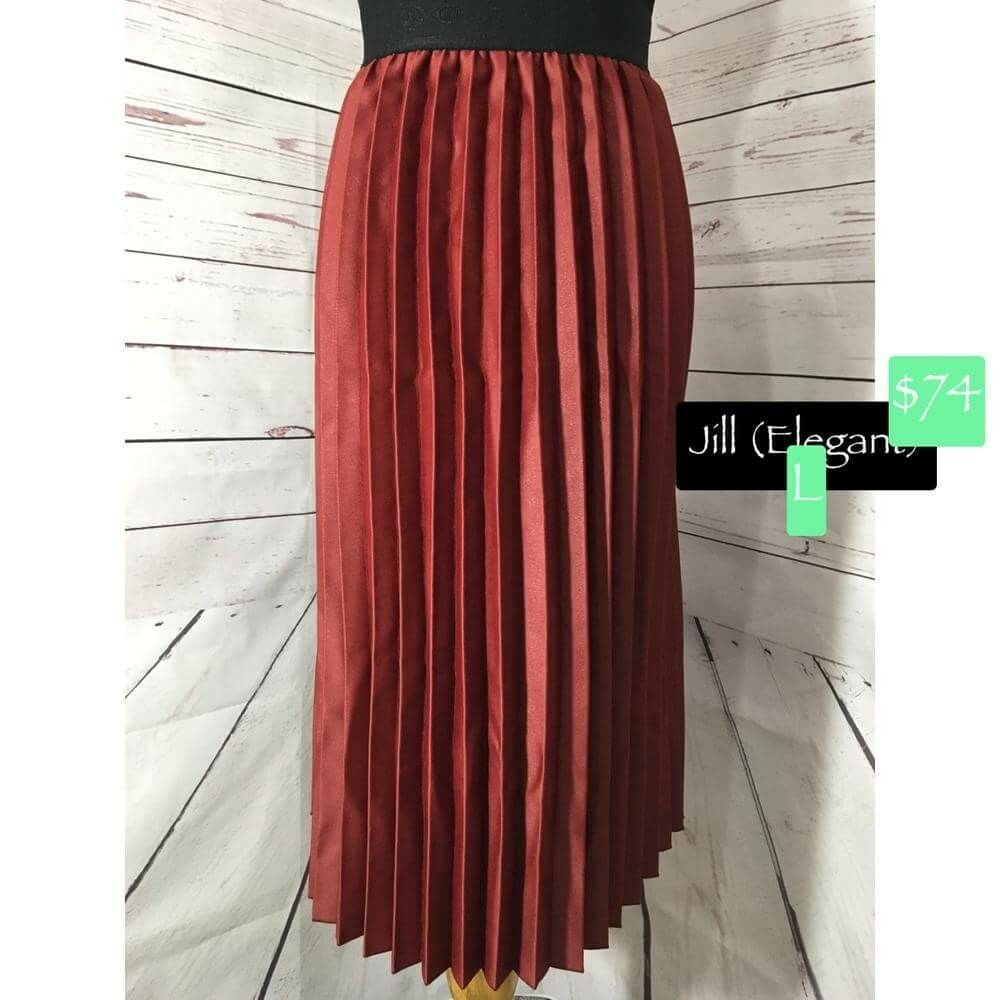 NEW Lularoe Elegant L Red Jill w  pleats leather like feel Unicorn rare