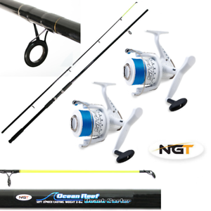 SEA FISHING SET 2 X 12FT BEACHCASTER RODS NGT OCEAN REEF + 2 X SHIZUKA SEA REELS