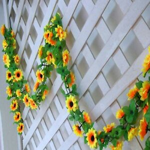 Simulated-Yellow-Sunflower-Garland-Vine-Leaf-Wedding-Floral-Home-Decor-Flower
