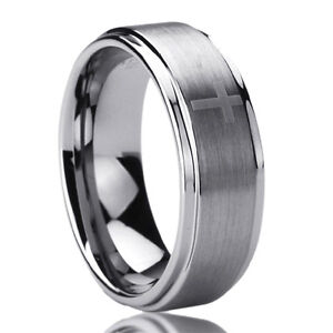 Free Engraving Personalized Titanium Comfort Fit Wedding Band Ring 8mm Cross Pattern Ring