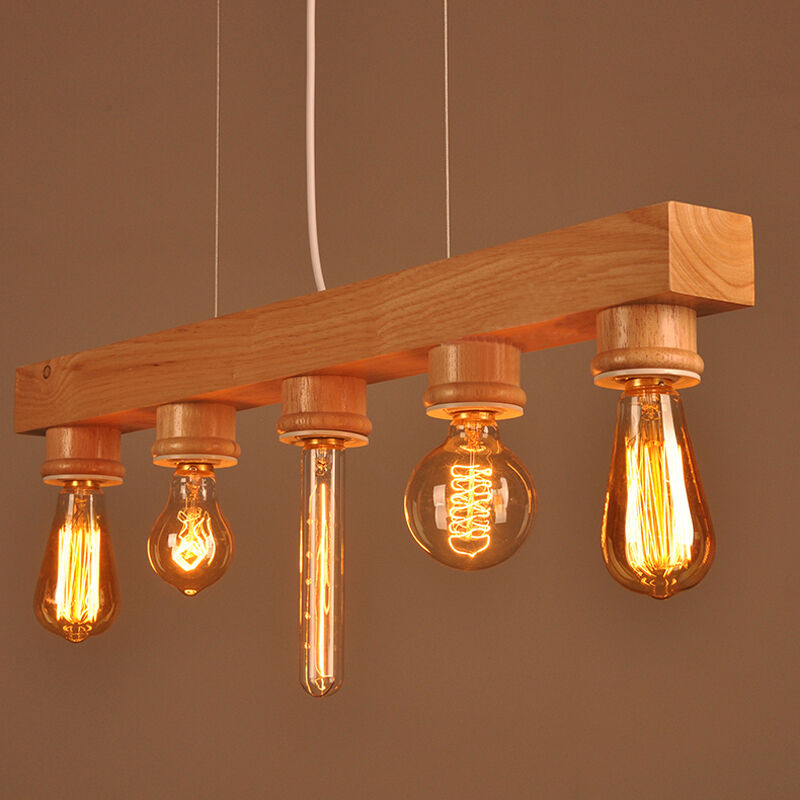 Wood Lighting Fixtures: Wooden Ceiling Fixture Light Pendant Lamp Lighting Hanging