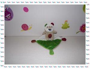 U-Doudou-Peluche-Ours-Koala-Beige-Blanc-Vert-Rouge-Mouchoir-Pommette