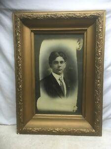 Vtg Antique Victorian Wood Chalk Flower Frame picture Gentleman PORTRAIT