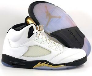 98a54ada60a72c Nike Air Jordan 5 V Retro Olympic Gold Coin White Black 136027-133 ...