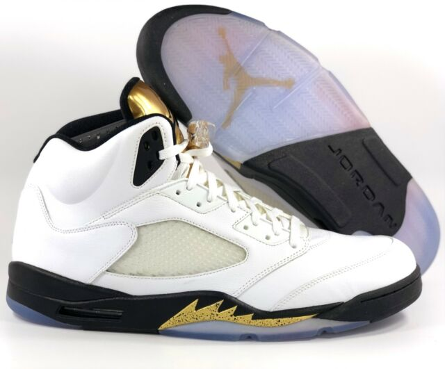 40c4f186141 Nike Air Jordan 5 V Retro Olympic Gold Coin White Black 136027-133 Men's 18