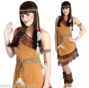 Ladies-Native-American-Indian-Squaw-Fancy-Dress-Costume-Outfit-UK-8-26-Plus-Size
