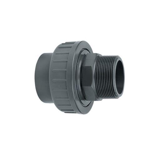 Grey Pressure Socket Union Male Thread to Plain Pond Pipe Fitting PVC