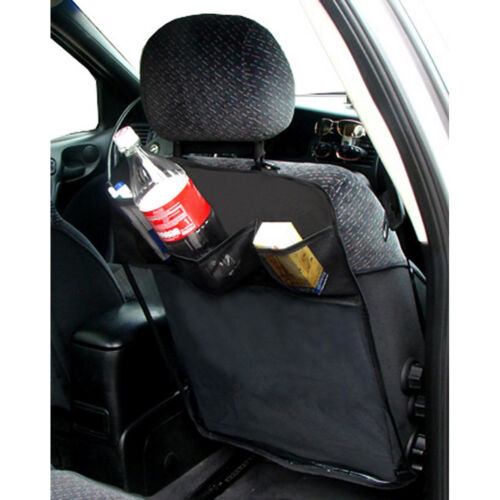 Black Car Seat Back Protector Cover Universal Fit with 3 Practical Pockets