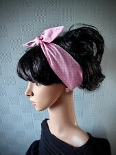 Pink polka dot hair scarf, 50's retro scarf, fifties head scarf, spotted tie
