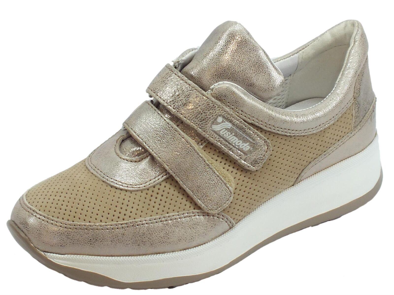 Sneakers Susmoda in pelle e scamosciato colore sasso chiusura a strappo