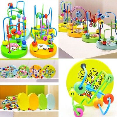Mini Around Beads Colorful Wooden Toy Wire Maze Children Baby Educational Game