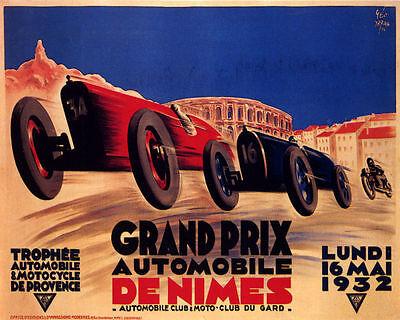POSTER GRAND PRIX AUTOMOBILE DE NIMES PROVENCE CAR RACING VINTAGE REPRO FREE SH