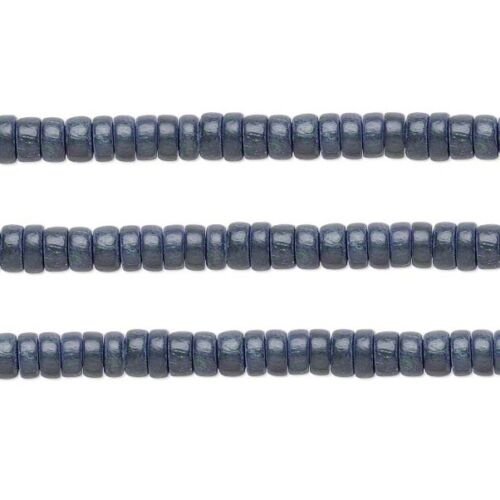 Wood Rondelle Beads Grey 8x4mm 16 Inch Strand