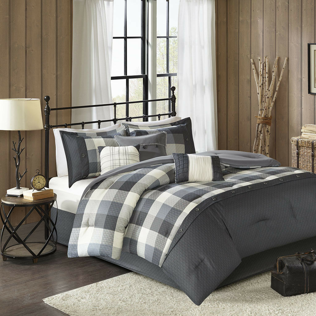 BEAUTIFUL COZY MODERN grau Weiß PLAID STRIPE LODGE CABIN SOFT COMFORTER SET