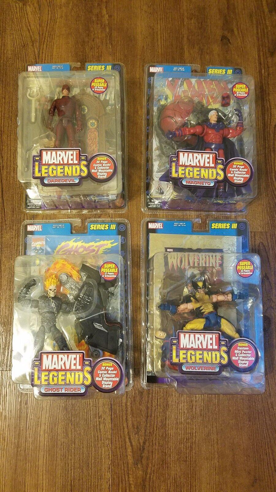 Marvel LEGENDS serie III de 3 Ghost Rider, Wolverine, Darojoevil, & Magneto