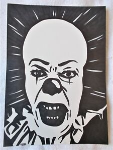 A4-Art-Marker-Pen-Sketch-Drawing-Pennywise-The-Clown-from-Stephen-King-039-s-IT-b