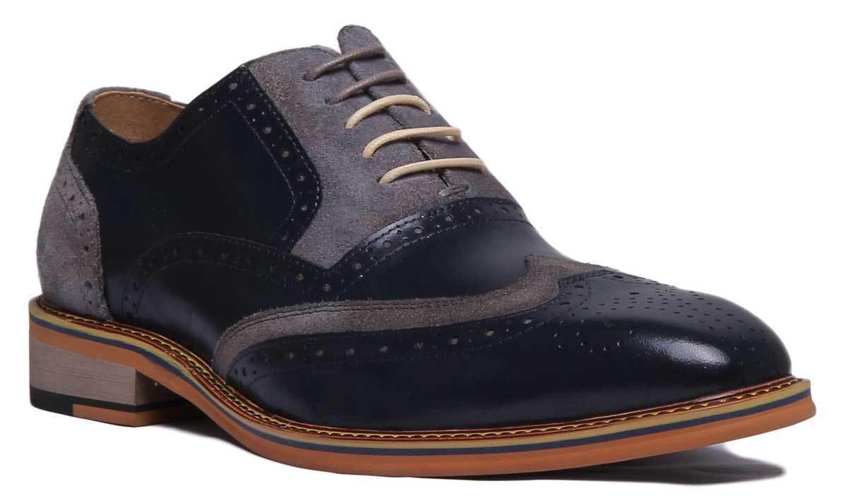 Justin Reece England Fabio Men Suede Navy Grey Brogue shoes UK Size 6 - 12