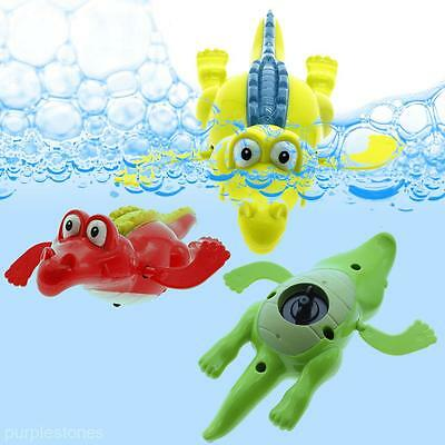 2X Wind Up Clockwork Cute Crocodile Kid Baby Swimming Favor Bath Time Play Toy