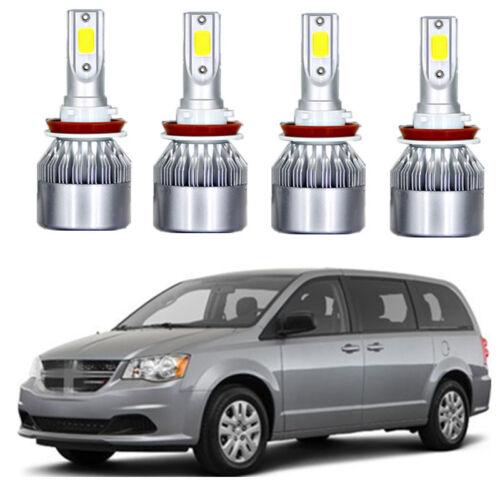 4X COB LED headlight Hi low Beams 6K XENON bulbs For Dodge Grand Caravan 11-18