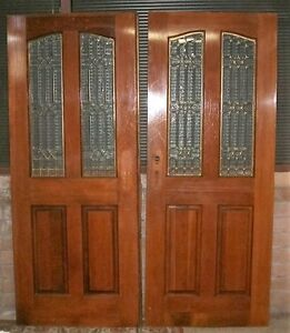 Vintage pair of french entry doors with leaded glass - Exterior glass panel french doors ...