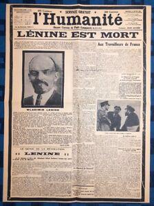 La-Une-Du-Journal-L-humanite-Mercredi-23-Janvier-1924-Lenine-Est-Mort