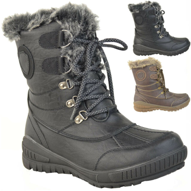 45d762bf01d9d Ladies Womens Flat Warm Fur Lined Grip Sole Winter Snow Ankle BOOTS ...