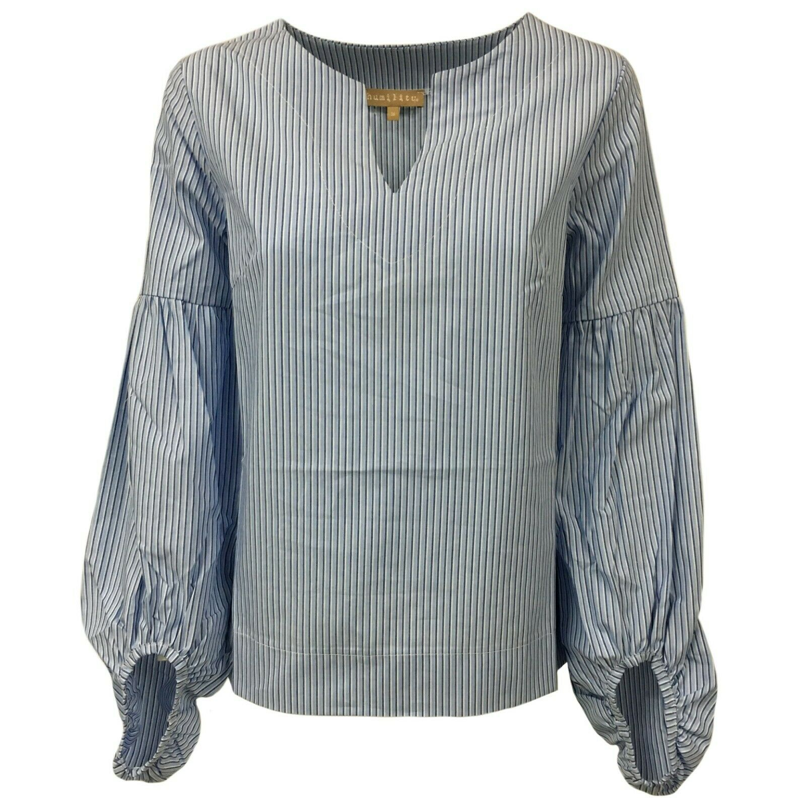 HUMILITY 1949 Damenhemd Streifen blau mod HA8087 100% Baumwolle MADE IN ITALY