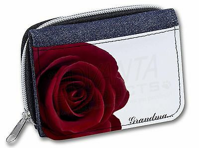 Affidabile 'red Rose, 'grandma' Girls/ladies Denim Purse Wallet Christmas Gift Id, Gra-r1jw