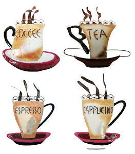 Details About Tea Coffee Cucino Espresso Cup Metal Wall Art Kitchen Decoration New