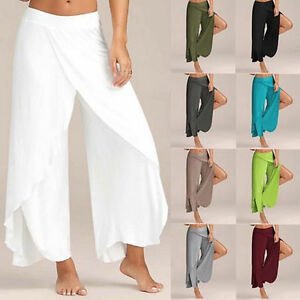 UK-Women-Chiffon-Split-Skirt-Pants-Harem-Palazzo-Empire-Waist-Wide-Leg-Trousers