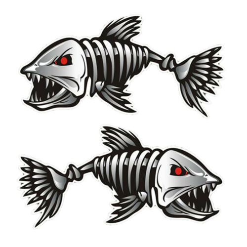 2pcs Auto 3D car accessories skeleton shark car sticker and decal go fish