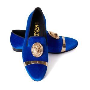 c84617191a8 Image is loading Harpelunde-Animal-Buckle-Men-Dress-Shoes-Blue-Velvet-