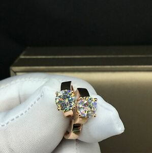 3Ct-Round-Cut-Moissanite-Women-039-s-Huggie-Hoop-Earrings-Solid-14K-Rose-Gold-Finish