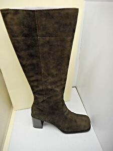b75c840ed6d Lord And Taylor Brown Boots Size 8 Tall Knee heel Suede zipper ...