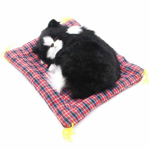 Lovely Simulation Padded Sleeping Cat with Sound Children Plush Stuffed Toy E2J4