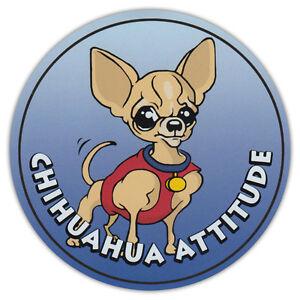 Round Dog Breed Car Magnet Chihuahua Attitude Bumper Sticker