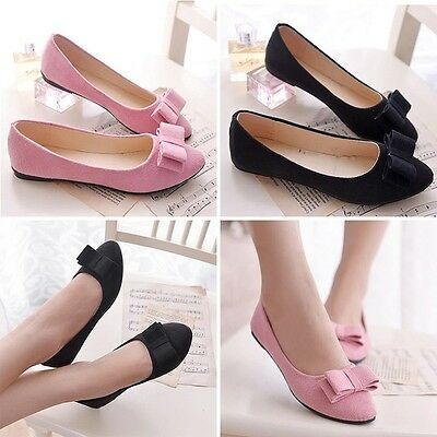 New Women Casual Ballet Flats Ballerina Slip On Loafers Bownot Shoes Flats