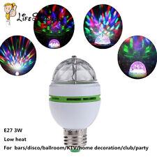 E27 3W Colorful Rotating RGB 3 LED Light Bulb Lamp Stage Disco KTV Party