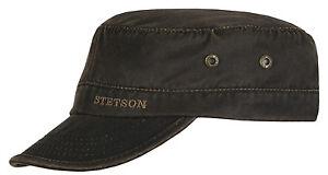 STETSON-Art-Datto-Sun-Guard-gewachst-Armycap-Kubacap-Kappe-Kaeppi-antik-braun
