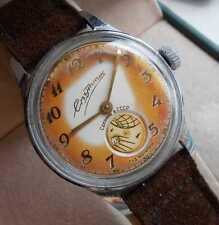 PATINA! Original vintage soviet mechanical watch SPUTNIK rotate glob, USSR, 1959
